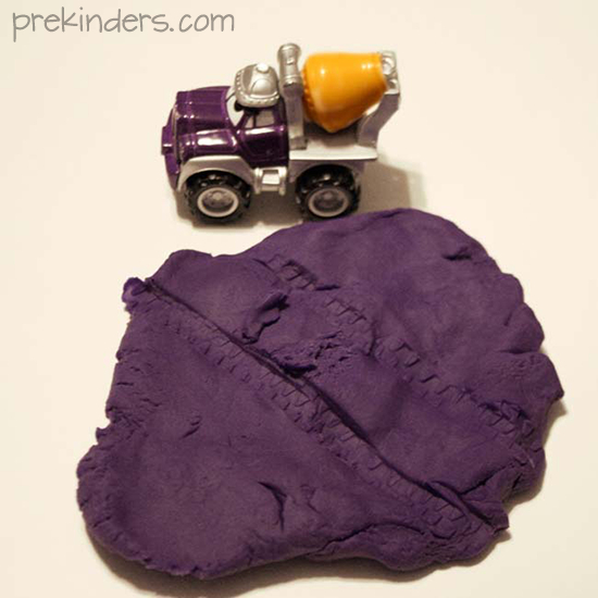 play dough tire tracks
