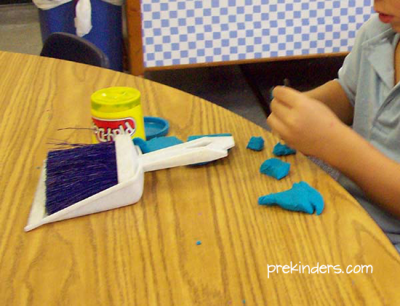 Teaching kids to use play dough
