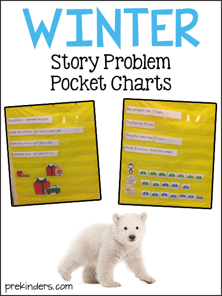Math Story Problem Pocket Charts for Winter