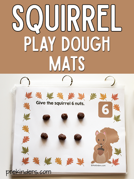 Squirrel Play Dough Counting Mats