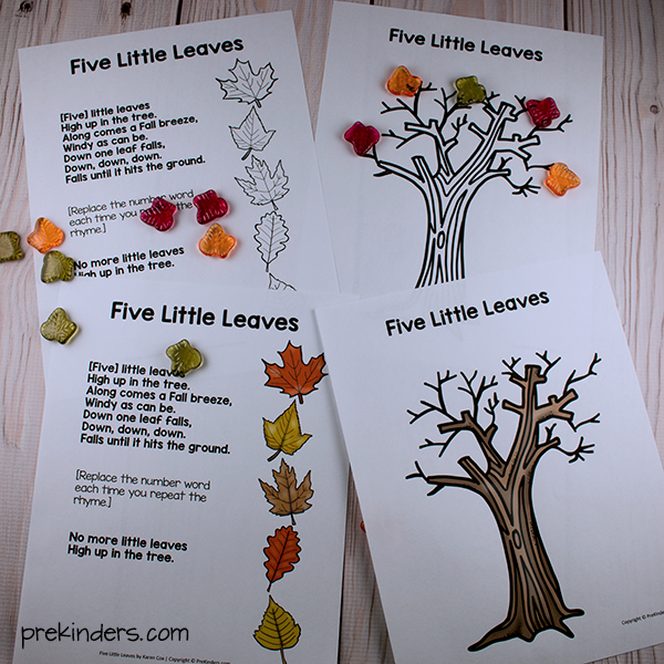 Five Little Leaves Printables